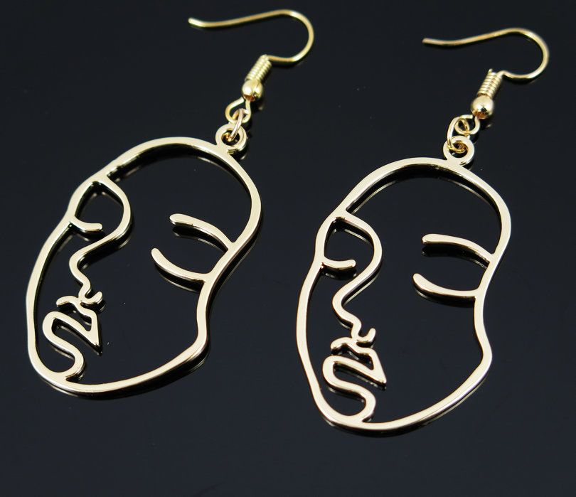 New Arrival Abstract Stylish Hollow Out Face Dangle Earrings 1