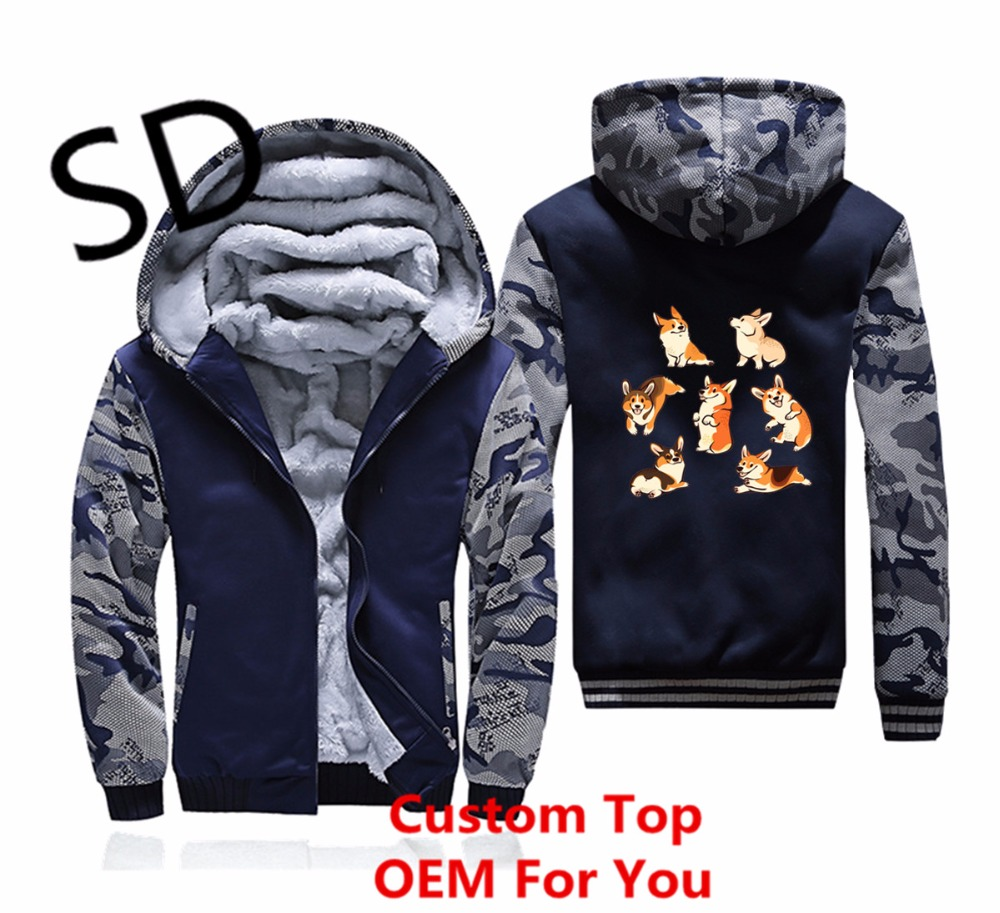 Taille Longues Veste navy Dropshipping Camouflage Gray La Corgies Tops Hoodies D'hiver À Sweat Manteau Hommes Blue Jolly Plus dark Gray Zipper Manches 3d OxawqO1C8