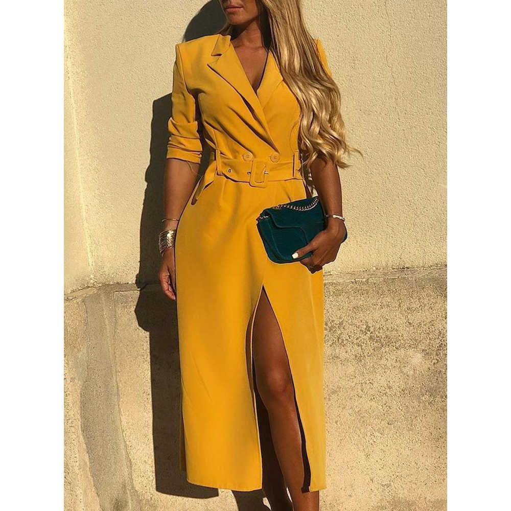 36701441039b6 Solid Self Belted Slit Blazer Dress Women Long Sleeve High Slit Yellow  Dresses Elegant Party Dress