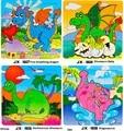 16 шт. Дети 3d деревянные головоломки животных головоломки Динозавр игрушки аниме рано обучающая игра детский мультфильм dinosaurio juguete