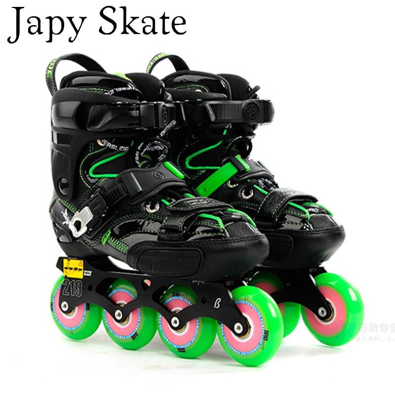 Prix pour Jus japy Skate 2014 POWERSLIDE S4 Professionnel Slalom Patins Rouleau Adulte De Patinage Chaussures Coulissante Livraison De Patinage Patins Patins À Roues Alignées