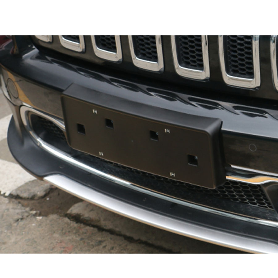 1Pcs ABS Exterior Car Front License Plate Holder Styling Cover Trim Decorative For Jeep Cherokee 2014 16 Black