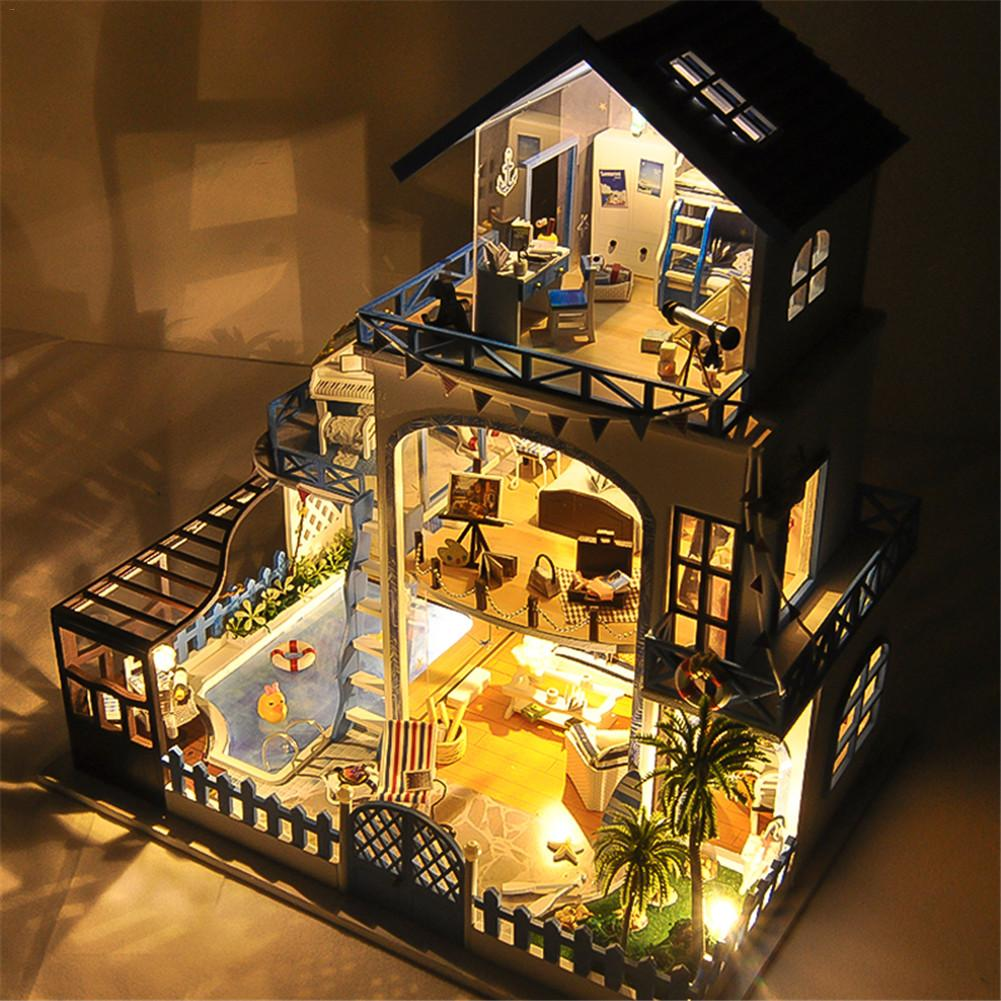 Diy Small House Love Sea Villa Miniature Wooden Doll House With