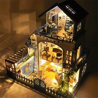 DIY Small House Love Sea Villa Miniature Wooden Doll House with Music Movement without Dust Cover