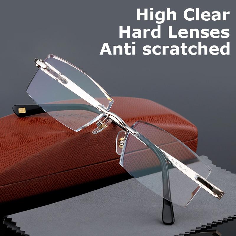 Hoge kwaliteit Leesbril Mannen Randloze Clear Vergrootglas Eyewear Voor Mannelijke Presbyopic lenzenvloeistof +1.0 +1.5 +2.0 +2.5 +3.0 +3.5 +4.0