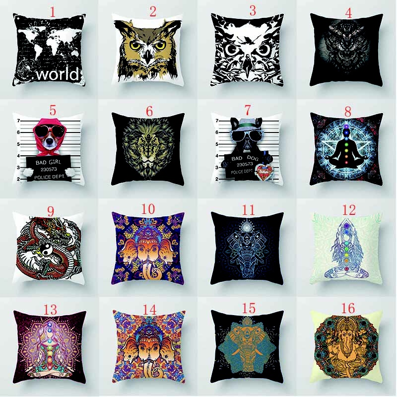 Funny animal owl dog elephant cow pretty high quality printing patterns men women Pillow case boys girls weeping willow case