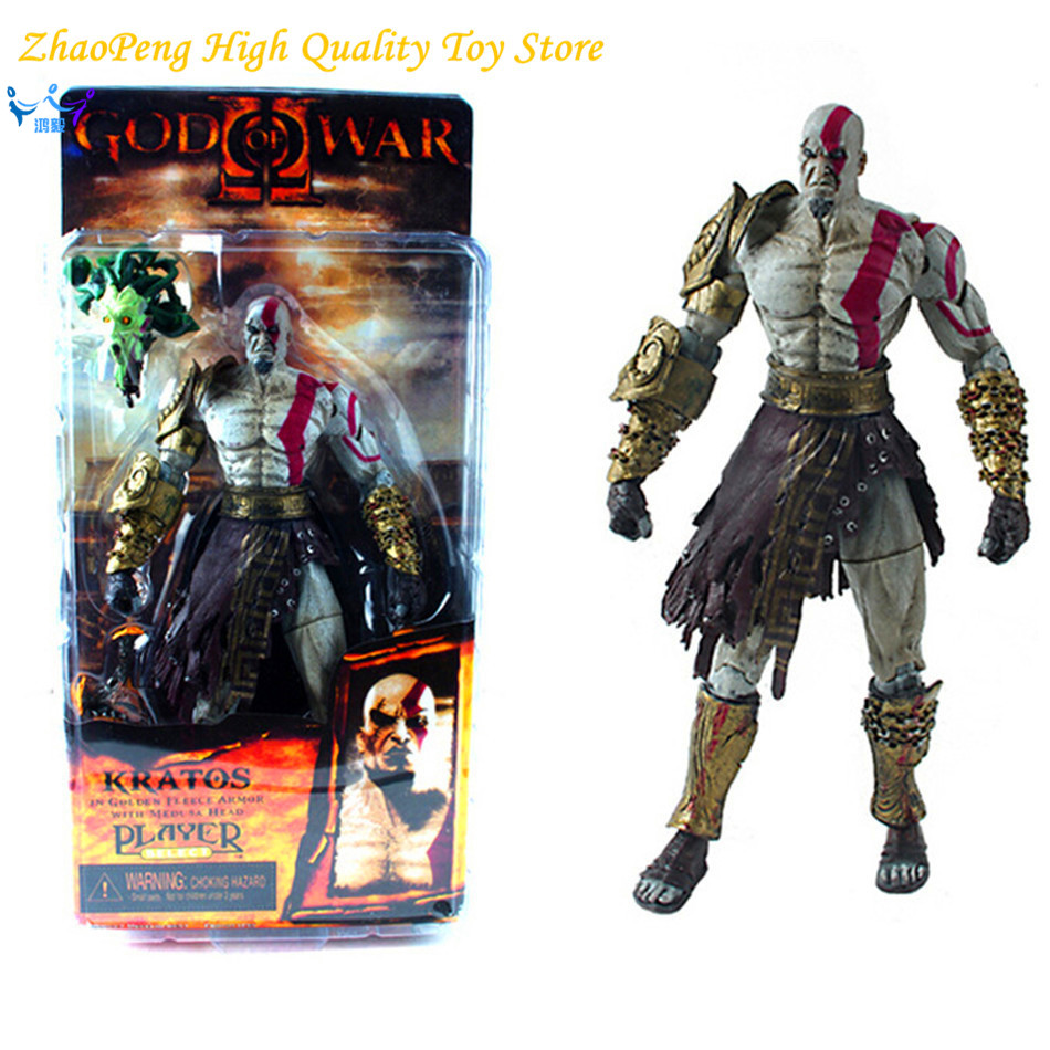 Free Shipping 7.5 God of War Kratos in Golden Fleece Armor with Medusa Head PVC Action Figure Collection Model Toy FB240 стоимость