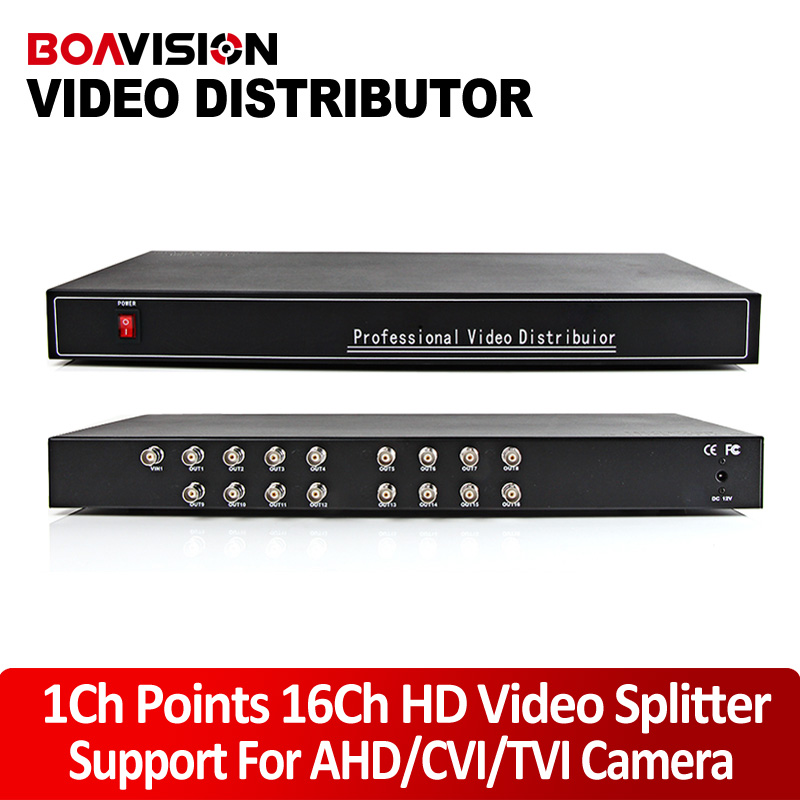 16 Port 1x16 1 In 16 Out  video Splitter/ Distributor,support  1080p/720p CVI/TVI/AHD Camera BNC In&Out,Distance Max To 300-600M