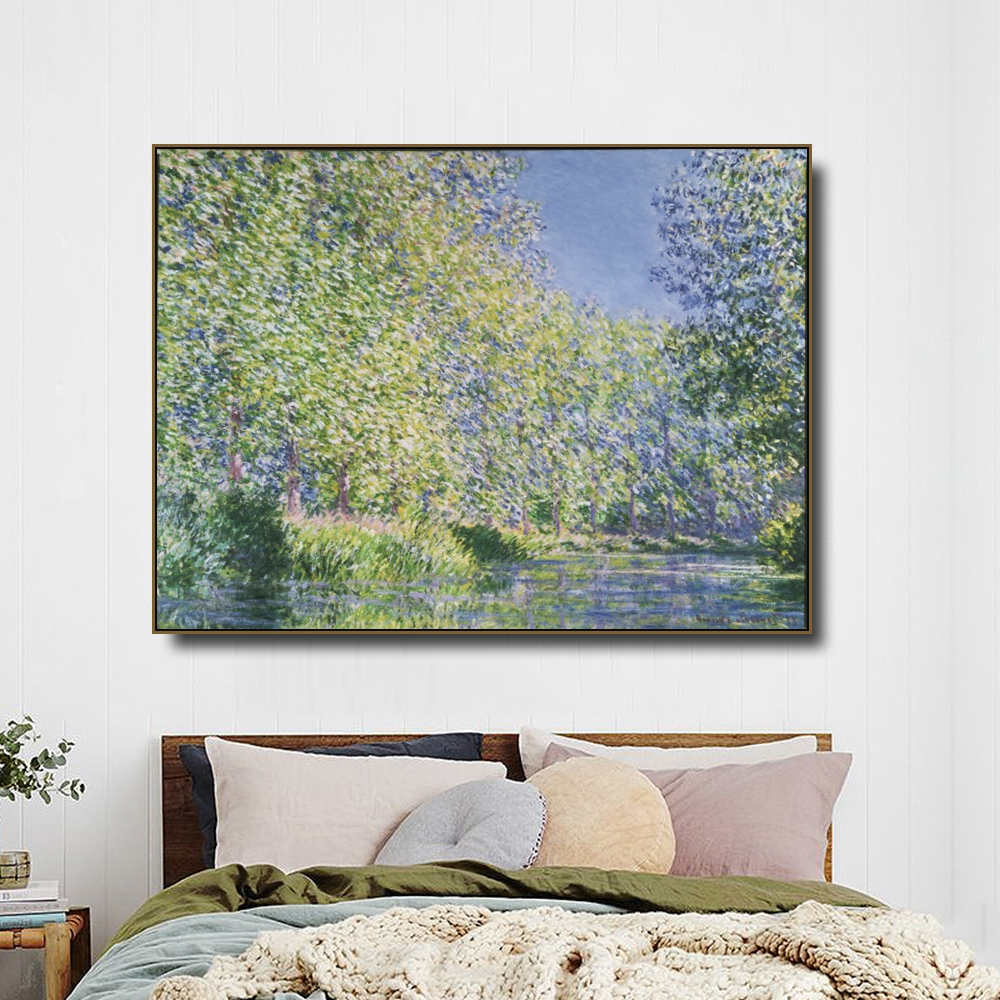 Bend in the Epte River by Monet Posters and Print Canvas Painting Calligraphy Wall Pictures for Living Room Bedroom Home Decor in Painting Calligraphy from Home Garden
