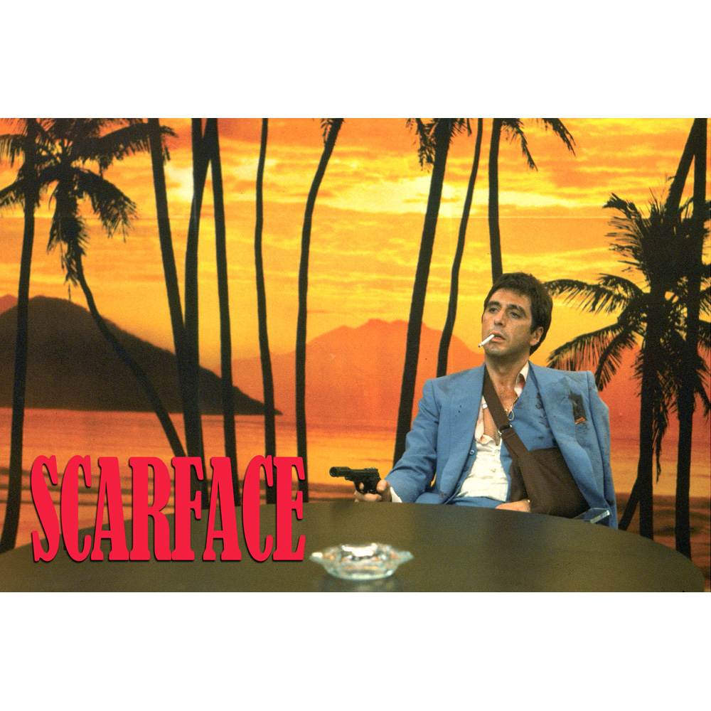 Scarface money power respect vinyl wall decal for home decore - J0293 Hot New Scarface Al Pacino Sunset Scene Pop 14x21 24x36 Inches Silk Art Poster Top Fabric Print Home Wall Decor