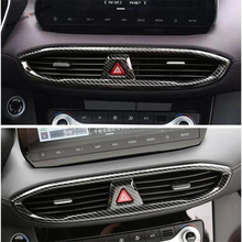 Yimaautotrims Center Warning Lights Air Conditioning Outlet Vent Cover Trim Fit For Hyundai Santa Fe 2019 Interior Mouldings ABS yimaautotrims auto accessory center warning lights air conditioning ac outlet vent cover trim 1 pcs abs for lexus es 2018 2019