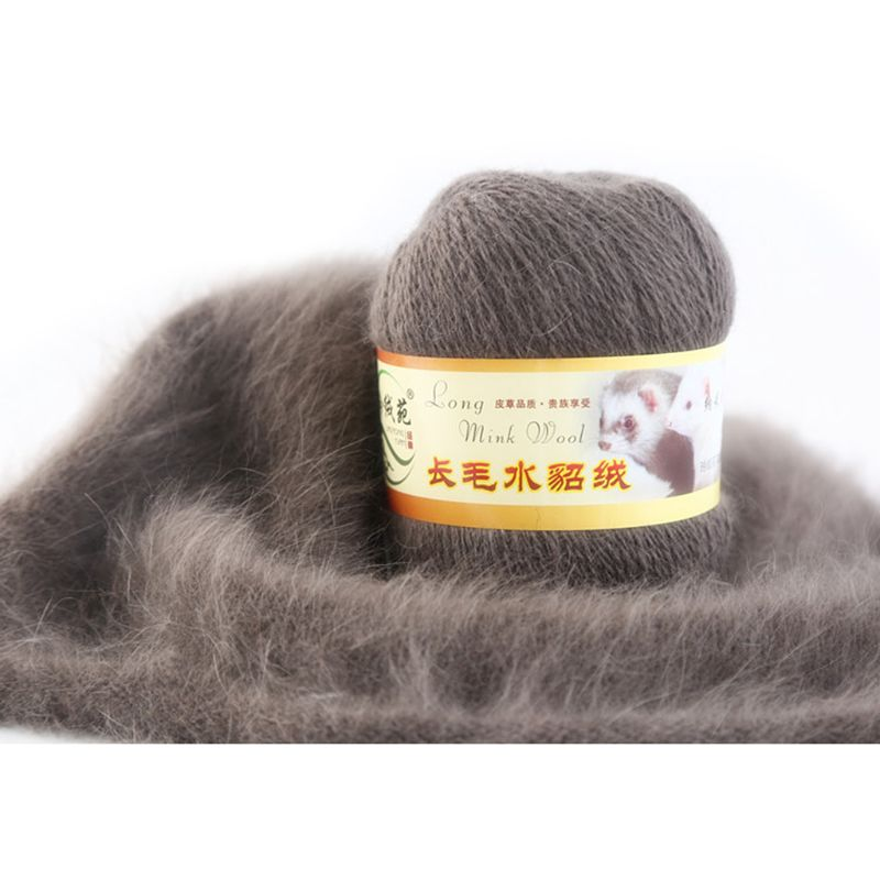 50 Grams Per Person Soft Mink Wool Hand-knitted Luxury Long-wool Cashmere Crochet Knitted Yarn Suitable For Autumn And Winter