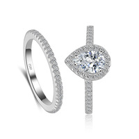 T748 925 sterling silver ring set For Women Cubic Zirconia 2pcs ring sets Pear ring sets