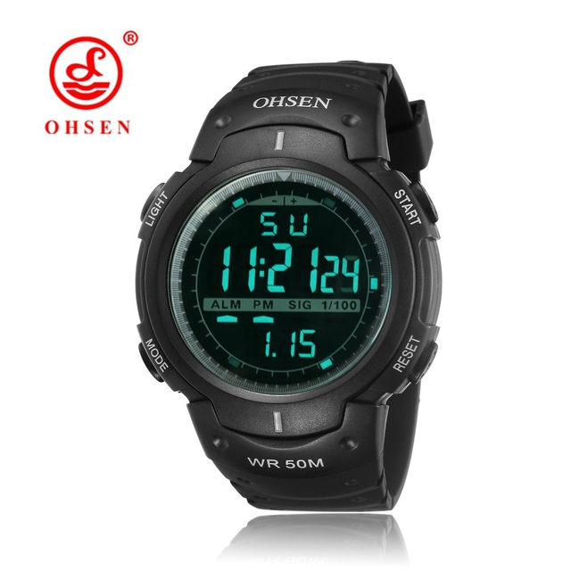 722d274624a OHSEN Digital Relogio Masculino Mans Wristwatch Army Fashion Black Rubber  Strap Alarm Date LCD 50M Swim Sport Male Watch Horloge
