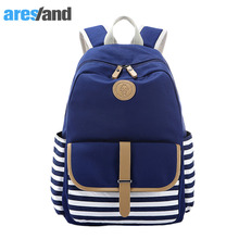 Aresland Women's Backpack Girls Preppy Style Nautical Navy Striped Canvas Rucksack School Bags