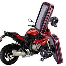 Bolsa de soporte de teléfono para motocicleta, resistente al agua, GPS, para manillar de bicicleta, ranuras para tarjetas