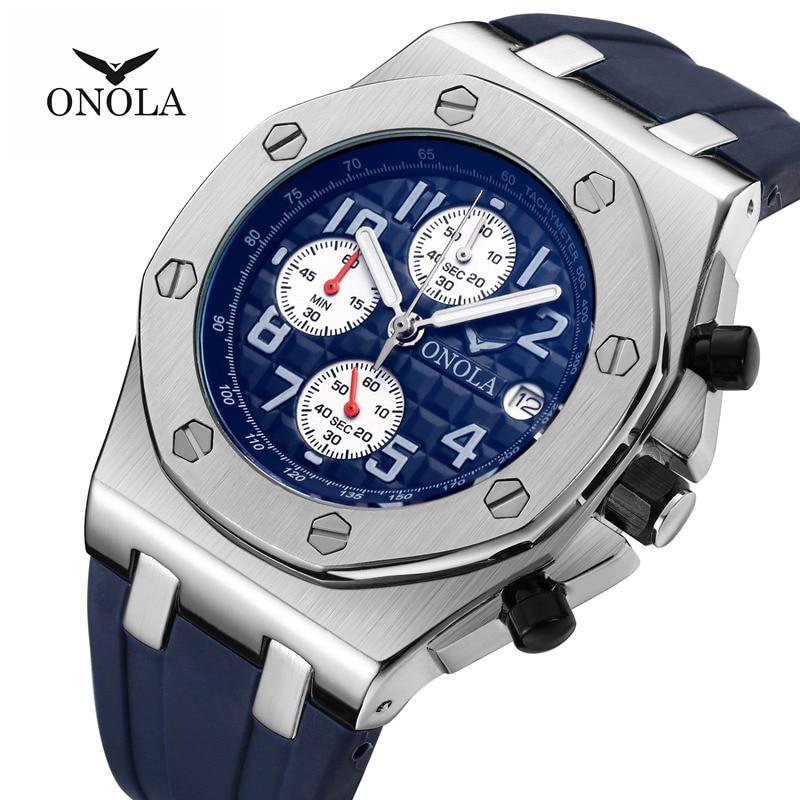2019 ONOLA Luxury brand Fashion Sports Military Mens Watches Wristwatch clock metal Waterproof multifunctional quartz watch
