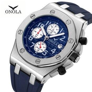 2019 ONOLA Luxury brand Fashion Sports Military Mens Watches Wristwatch clock metal Waterproof multifunctional quartz watch Men 2