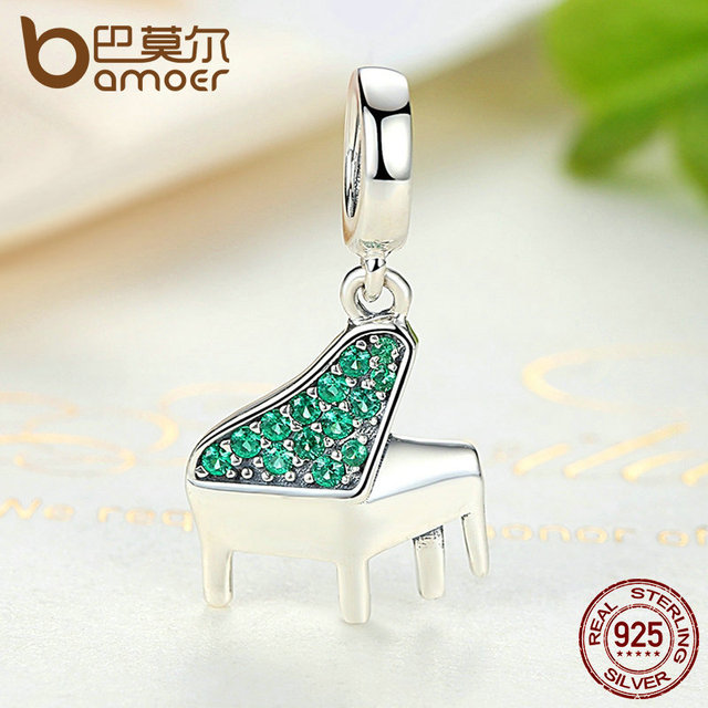 Sterling Silver Green Clearly Music Piano Pendant Charm