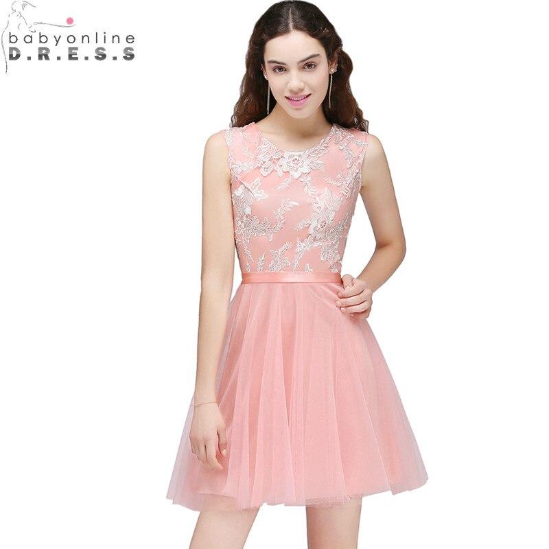 Vestido de festa Curto imagen real Rosa Encaje Appliques Vestidos de ...
