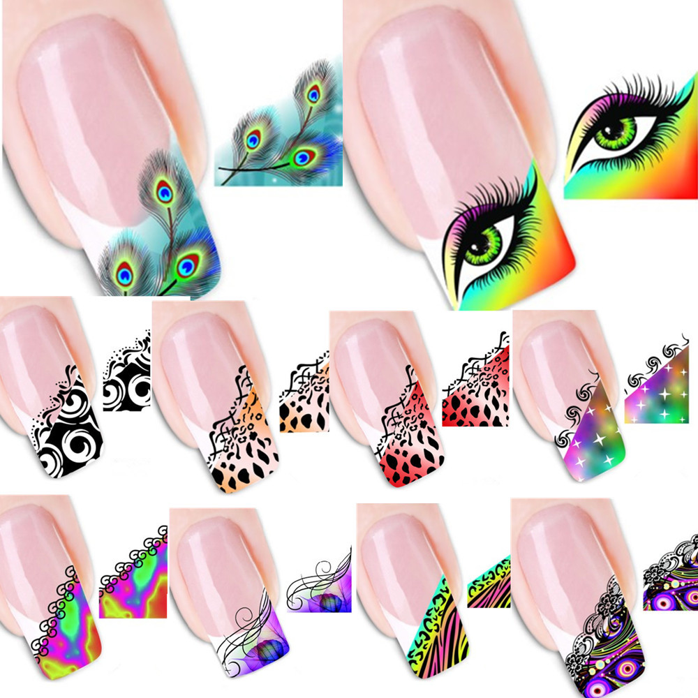 50pcs Y Stickers Nail Art Tips French Decorations Decals Patch Manicure New Designs Colorful Diy Xf1299 1331 In Hair Clips Pins From Beauty
