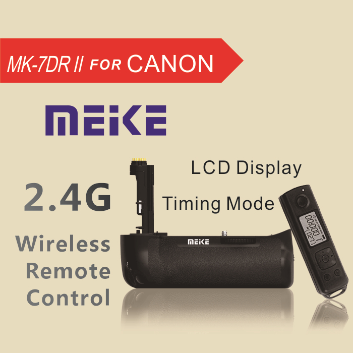New Arrival MEKE Meike MK-7DR II  2.4G Wireless Remote Control Vertical Battery Grip for Canon EOS 7D Mark ii 7D2 as BG-E16 mcoplus bg 7d vertical battery grip with 2pcs lp e6 batteries for canon eos 7d camera as bg e7 meike mk 7d