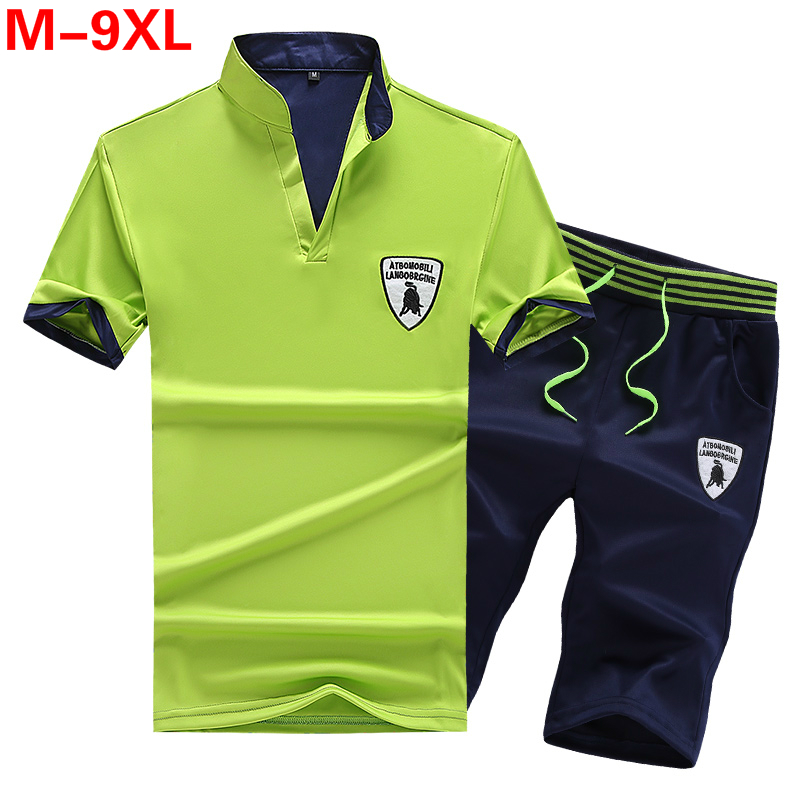 Tracksuit Men Summer Big Size 9XL 8XL Sweat Suits 2PC Top+Shorts Breathable Short Set Men's Causal Sportswear Tops Short
