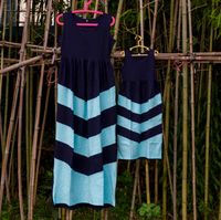 Miękkie dorywczo odzież dziewczyny zachodnich fancy piękne wzburzyć projekt mama i ja plus rozmiar maxi sukienka