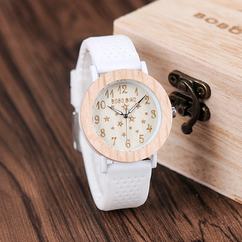 BOBO BIRD Silicone Band Starry Sky Fashion Design Women Wood Watch