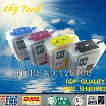4PK Volledige Inkt Navulbare cartridge pak voor HP10 HP82, pak voor hp designjet 10 st 20 st 120nr 50 st 500 800 sereis, met ARC Chip
