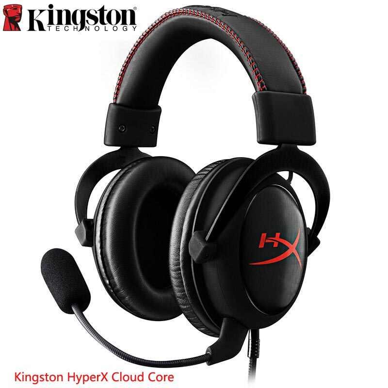 キングストンオリジナルゲーミングヘッドセット HyperX クラウドコア黒ヘッドマウントヘッドセットの Pc PS4 Xbox 携帯デバイス