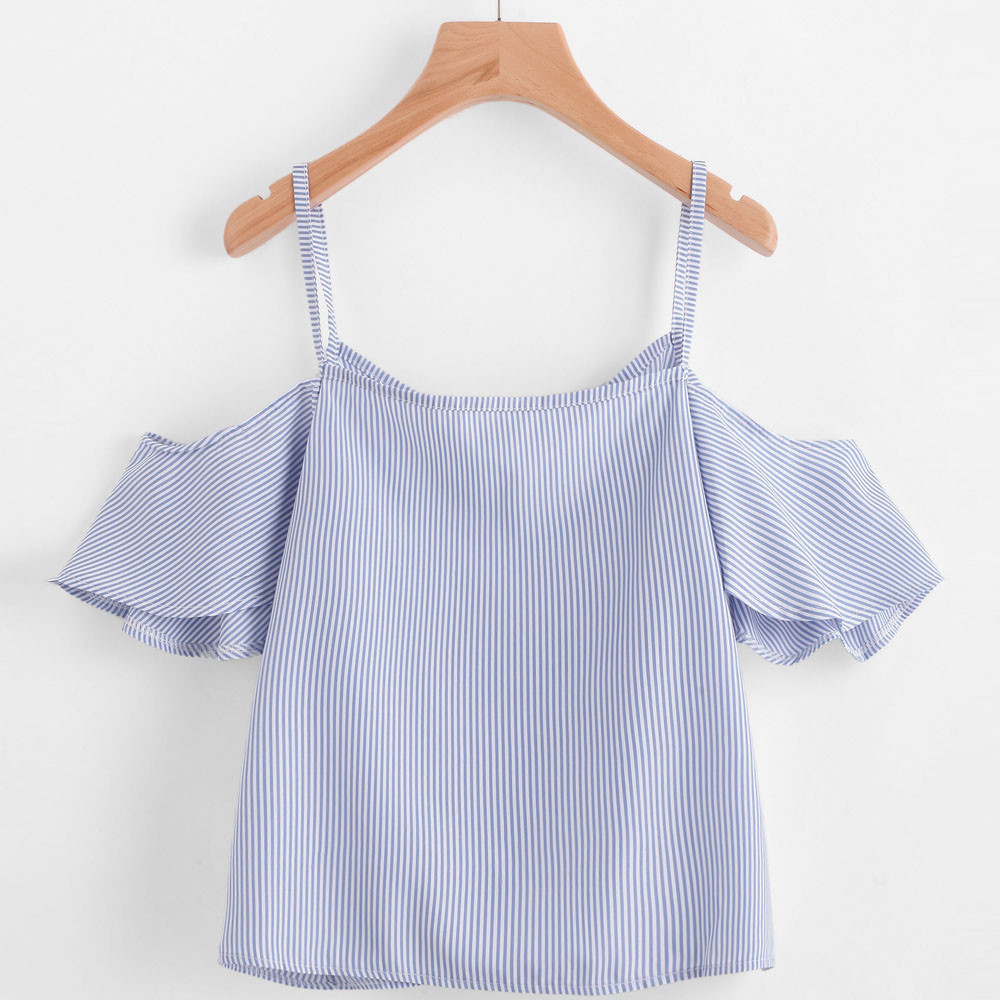 Giving is Living Apparel Summer Casual Off The Shoulder Female Pinstripe V-Neck Nylon