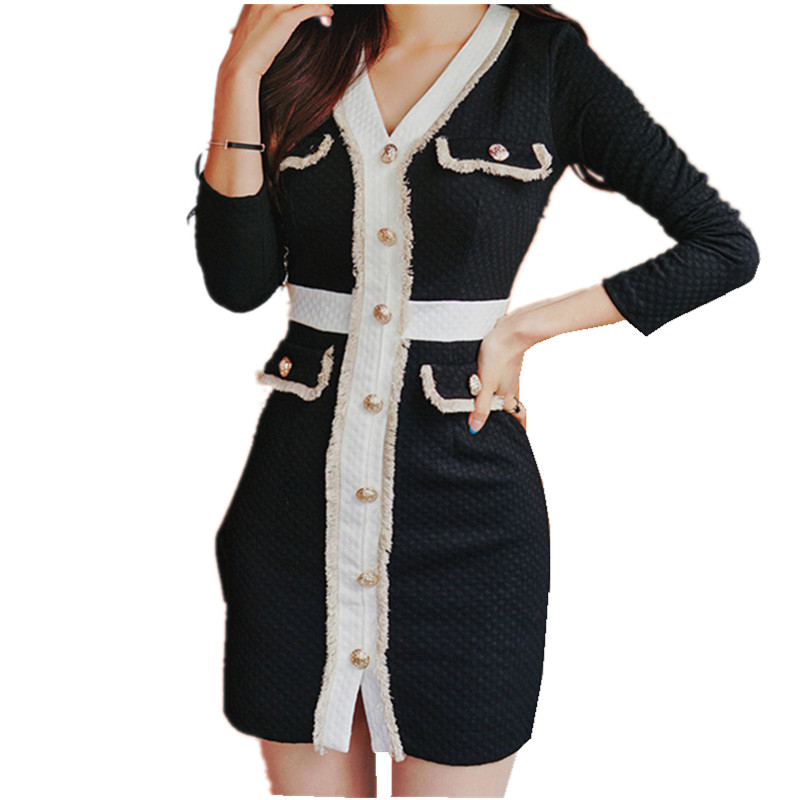 HAMALIEL 2019 Spring Women Single Breasted Sheath Dress Fashion Tweed Patchwork Bodycon Tassel Dress Sexy V Neck Pencil Vestidos
