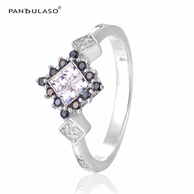 New Rings for Women 925 Sterling Silver Jewelry Pave CZ Clear & Black Stone Unique 2016 New Wedding Rings DIY Silver 925 Jewelry