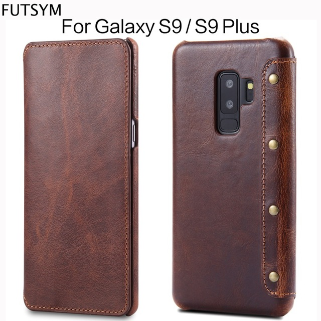 new york f4180 a30a5 US $16.79 20% OFF Luxury Business Style Genuine Real Leather Wallet Case  For Samsung Galaxy S9 S9 Plus Flip Case Leather Cover For Samsung S9  Plus-in ...