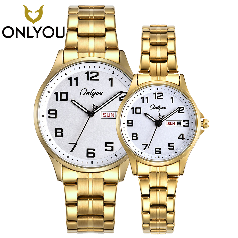 ONLYOU Couple Watches Top Brand Luxury Casual Men Waterproof Quartz Clock Women Gold Fashion Watch Lover Business Wristwatches