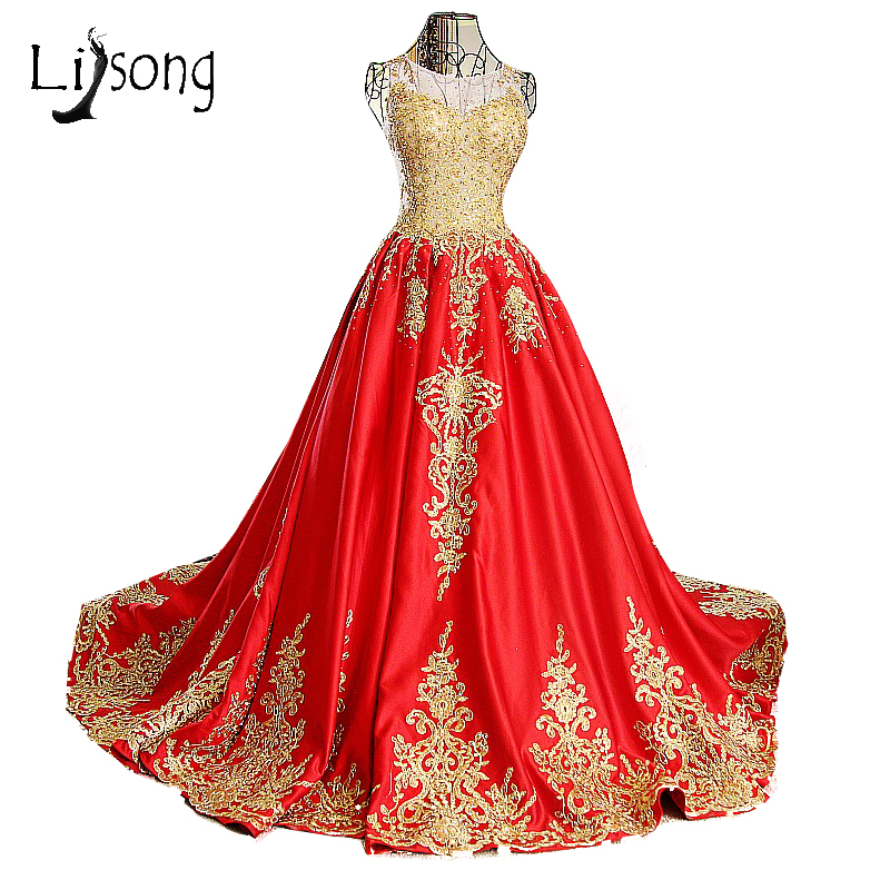 Popular red gold wedding dresses buy cheap red gold for Red and gold wedding dress