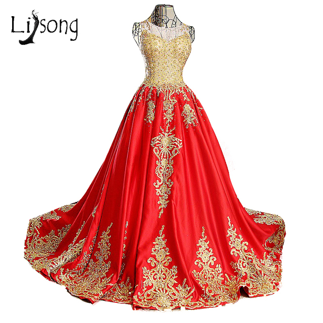Gold Appliques Red A Line Wedding Dress Long Middle East Saudi