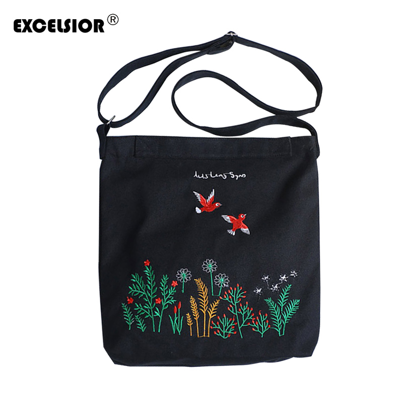 EXCELSIOR Floral Embroidery Canvas Tote Women Casual Beach Bags Daily Use Female Single Shoulder Bags For Shopping Casual Canvas excelsior canvas daily zipper shopping bag large tote women handbags foldable hand pattern ladies single shoulder beach bags