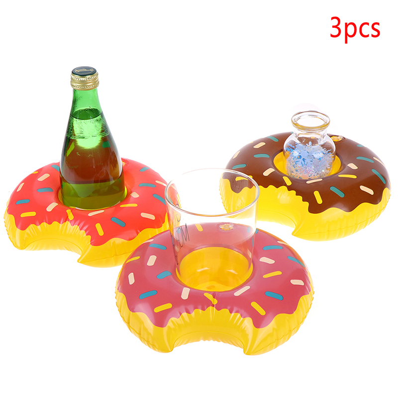 3pcs/lot Donuts Inflatable Water Drink Floating Cup Holder Circle For Swimming Pool Party Decorations