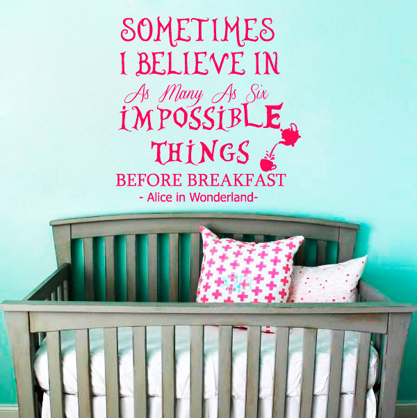 Book Quotes Alice In Wonderland Art Wall Murals Home Room Nursery Bedroom Active Decor Cartoon Diy