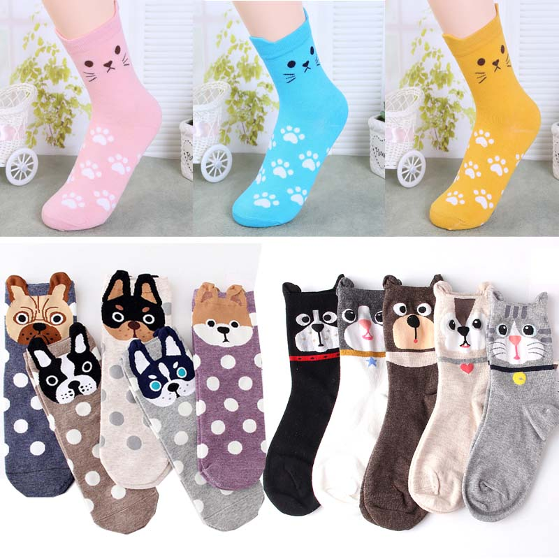 Fashion women animal   socks   lovely 3D dogs cat autumn warm cotton girl's casual   socks   1pair