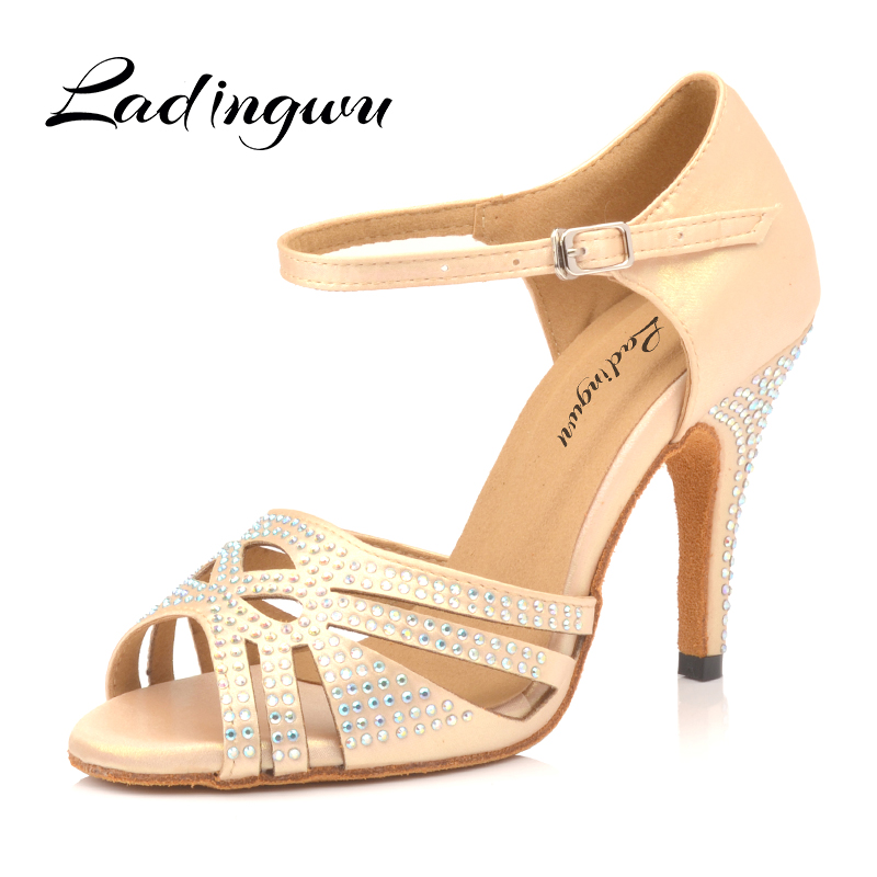 Ladingwu Hot Apricot And Silver Satin  Women's Latin Dance Shoes Ballroom Dance Shoes Party Square Dance Shoes Soft Heels 10cm