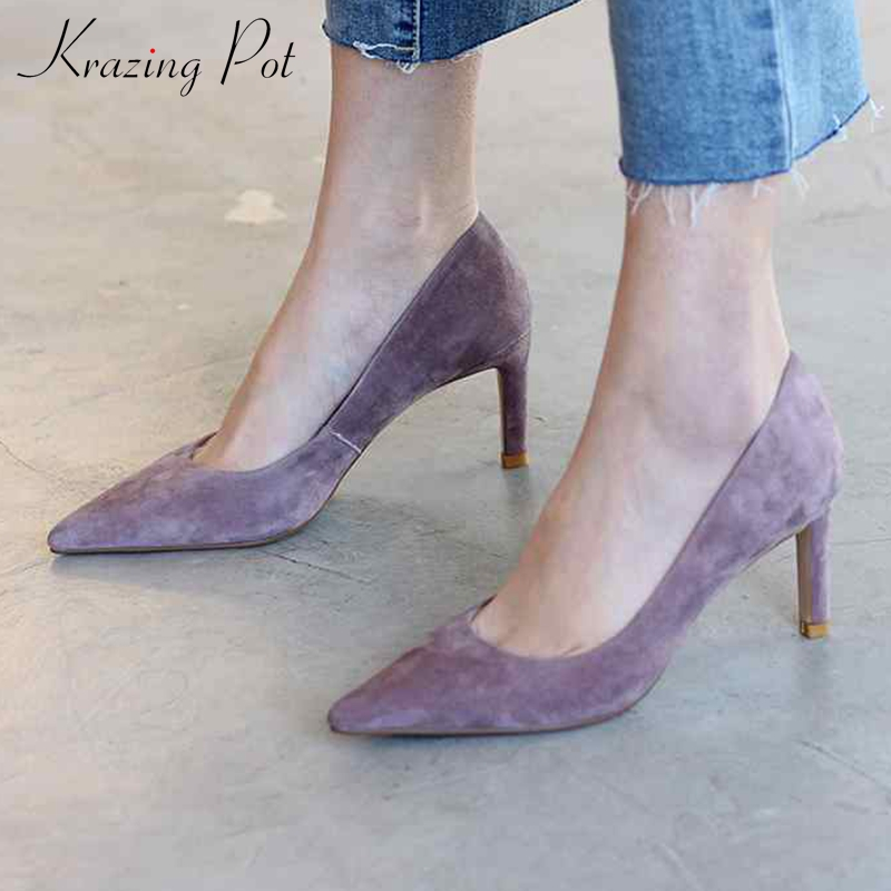 Krazing Pot new sheep suede stiletto high heels party dating slip on European nightclub sexy pointed toe glamour woman pumps L51Krazing Pot new sheep suede stiletto high heels party dating slip on European nightclub sexy pointed toe glamour woman pumps L51