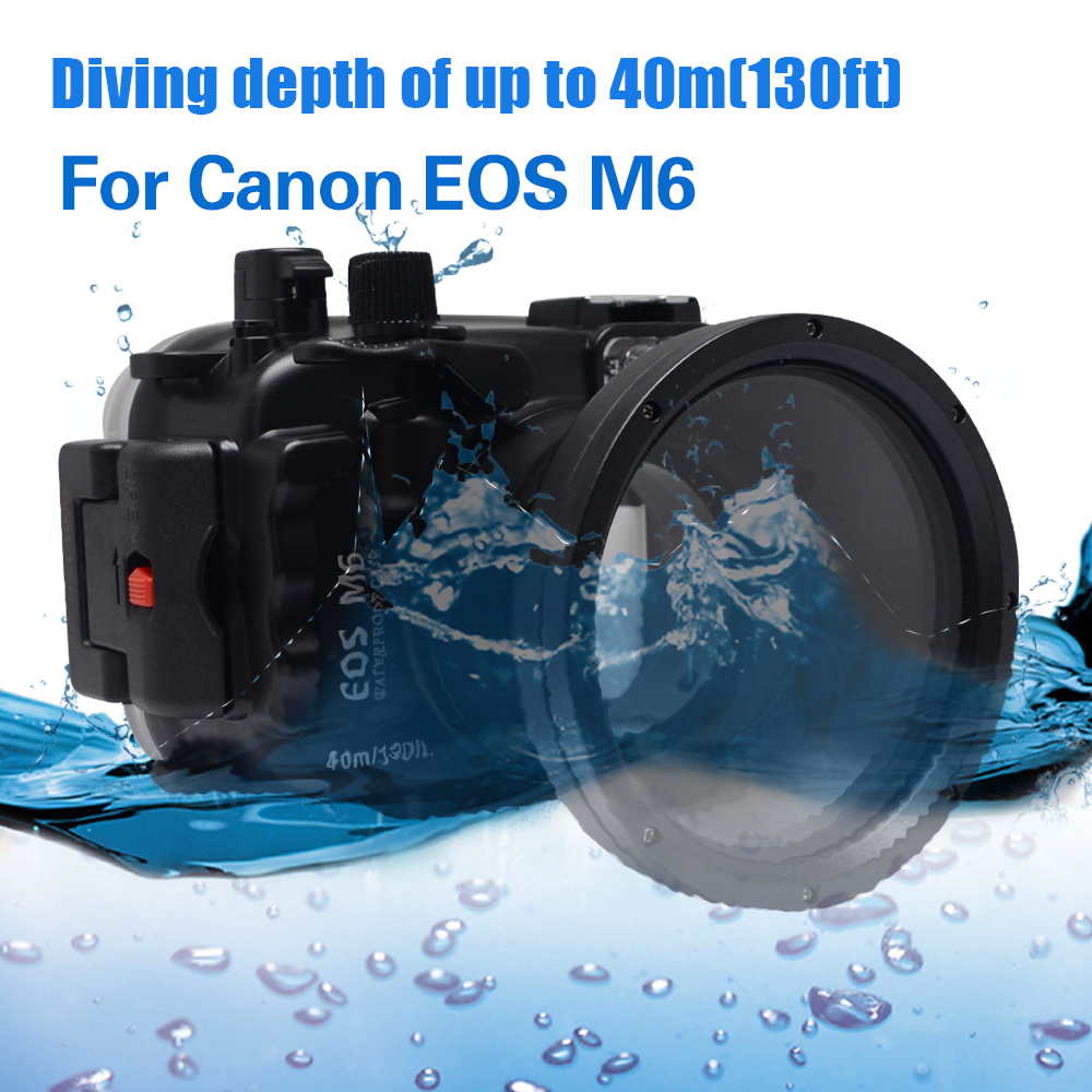 Mcoplus Canon M6 40m/130ft Underwater Case Waterproof Diving Housing Camera Bag for Canon EOS M6 Camera mcoplus 40m 130ft waterproof underwater housing camera case bag for canon eos g16