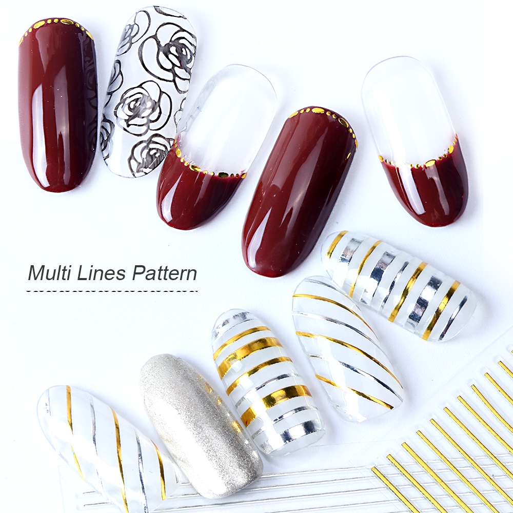 Image 5 - 1pcs Gold Silver Sliders 3D Nail Stickers Straight Curved Liners Stripe Tape Wraps Geometric Nail Art Decorations BESTZG001 013-in Stickers & Decals from Beauty & Health