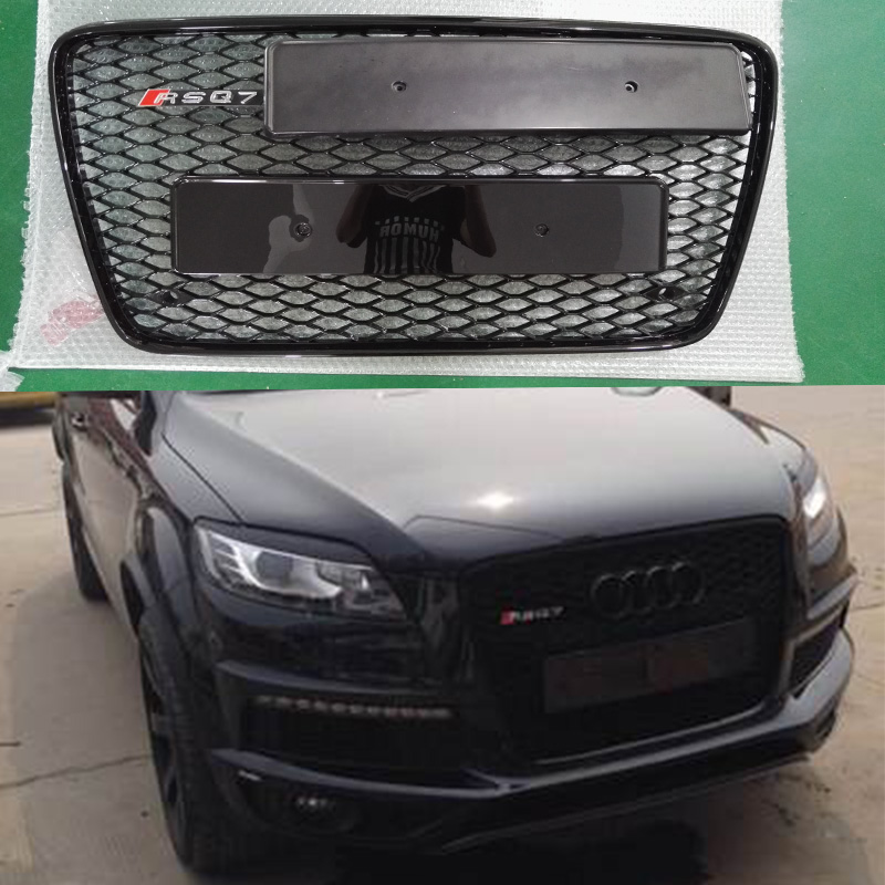 q7 all black front bumper mesh grille guard for audi q7. Black Bedroom Furniture Sets. Home Design Ideas