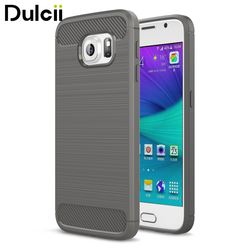 Dulcii for Galaxy S 6 G920 Bag Rugged Armor Carbon Fiber Texture Brushed TPU Phone Cover for Samsung Galaxy S6 G920 - Grey