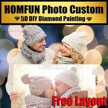 HOMFUN – photo personnalisée, peinture diamant, perceuse complète 5D, strass, broderie, point de croix
