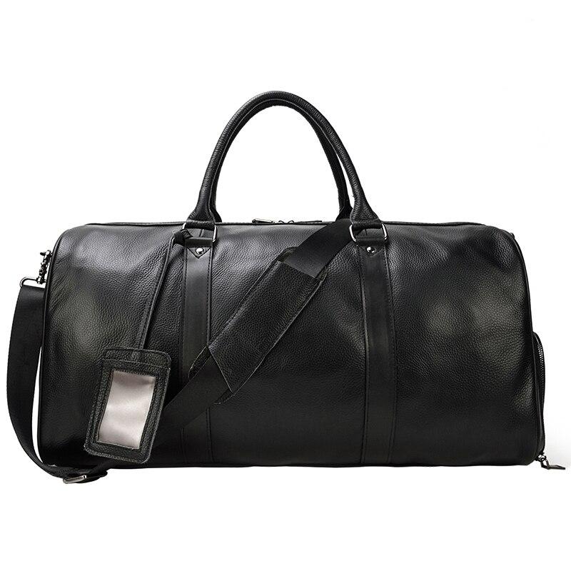 Bolsas de viaje de piel de vaca Natural de MAHEU bolsas de viaje de cuero impermeables para hombres bolsas de noche equipaje de mano hombres bolsa de fin de semana hombre de negocios 55cm-in Bolsas de viaje from Maletas y bolsas    3